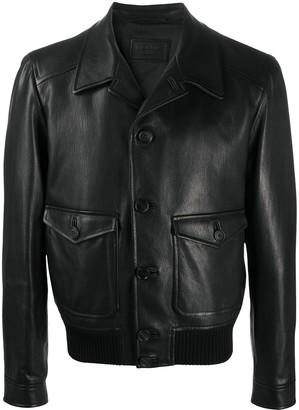 Prada Spread-Collar Leather Jacket