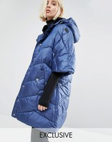 Puffa Oversized Cape Jacket With Padded Collar And Hood