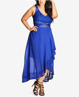 City Chic Trendy Plus Size Lace-Trim High-Low Dress