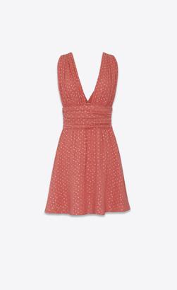 Saint Laurent Dresses Belted Dress In Silk Seersucker Printed With Tiny Stars Pink 6