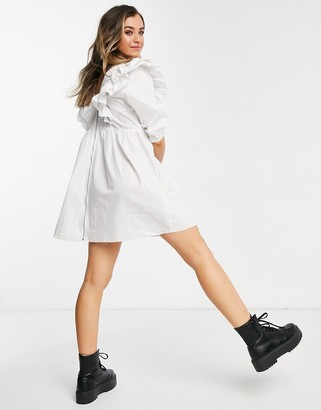 New Look short sleeve ruffle poplin mini dress in white