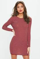 Missguided Petite Red Stripe Long Sleeve Dress