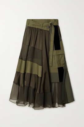 Sacai Paneled Asymmetric Satin, Velvet, Twill And Chiffon Wrap Maxi Skirt - Dark green