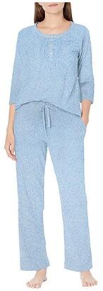 Carole Hochman Soft Jersey 3/4 Sleeve Long Pajama Set (Blue Ground Floral) Women's Pajama Sets