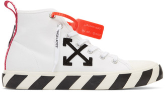 Off-White White and Black Arrows Mid-Top Sneakers