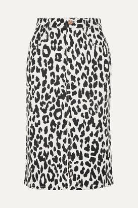 See by Chloe Leopard-print Denim Midi Skirt - White