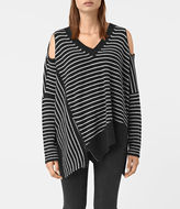 AllSaints Able Stripe Open Shoulder Sweater