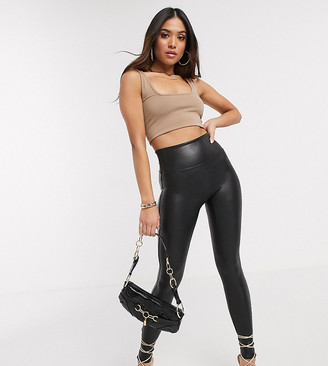 Spanx Petite leather look legging with contoured power waistband in black