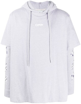 Off-White Layered-Effect Logo Hoodie