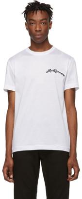 Alexander McQueen White Embroidered Logo T-Shirt