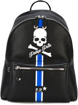 Philipp Plein pirate skull and stripe backpack - men - Calf Leather - One Size