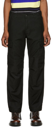 Carhartt Work In Progress Black Sateen Regular Cargo Trousers