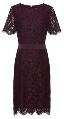 HUGO Lace dress with ribbon waistband and concealed zip
