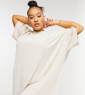 ASOS DESIGN Curve super soft rib oversized T-shirt dress in stone