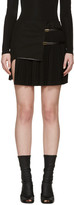 Anthony Vaccarello Black Asymmetric Plisse Miniskirt