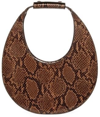 STAUD Moon Snakeskin-Embossed Leather Hobo Bag