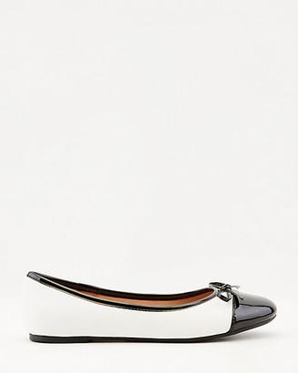 Le Château Patent Faux Leather Cap Toe Ballerina Flat