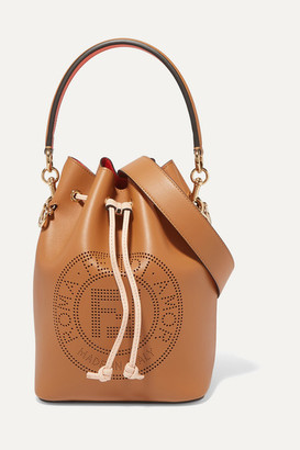 Fendi Mon Tresor Perforated Leather Bucket Bag - Brown