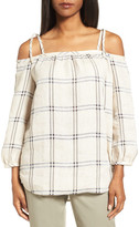 Nordstrom Off the Shoulder Plaid Top