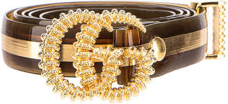 Gucci GG Marmont Belt in Tawny & Gold | FWRD
