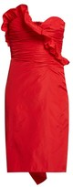 ALEXACHUNG Ruffled Taffeta Dress - Womens - Red