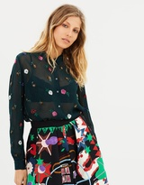 Maison Scotch Sheer Button-Up Shirt With All-Over Sequin Flowers