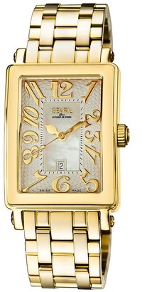 Gevril Women's Mezzo Rectangle Goldtone Stainless Steel Diamond Watch