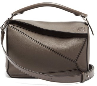 Loewe Puzzle Small Leather Cross-body Bag - Womens - Dark Grey