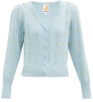 JoosTricot Bead-embellished Cotton-blend Cardigan - Light Blue