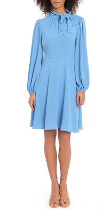 Maggy London Catalina Tie Neck Long Sleeve Fit & Flare Crepe Dress