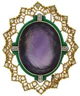 Buccellati Carved Amethyst Cameo Diamond Enamel Gold Brooch Pin