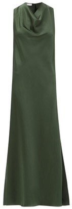 Marina Moscone Cowl-neck Satin Dress - Green