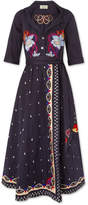 Temperley London Divine Embroidered Cotton Wrap Midi Dress - Storm blue