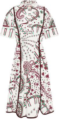 Valentino Pintucked Printed Cotton-poplin Shirt Dress