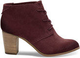 Toms Oxblood Burnished Suede Women's Lunata Lace-Up Booties