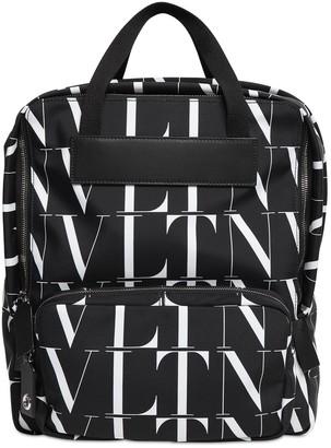 Valentino Vltn Times Print Nylon Backpack