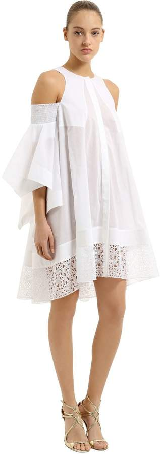 Antonio Berardi Open Shoulders Cotton Voile Dress