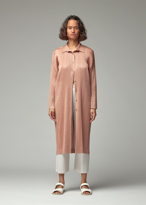Pleats Please Issey Miyake Women's Button Down Coat Dress in Cinder Rose Size 2