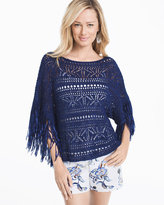 White House Black Market Fringe-Sleeve Poncho Sweater