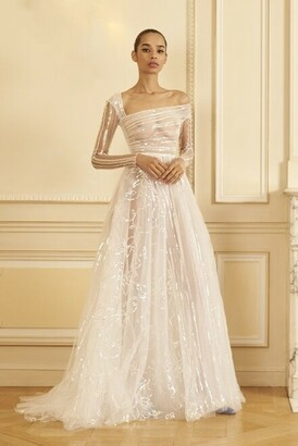 GEORGES HOBEIKA Beaded Tulle Long Sleeve Gown