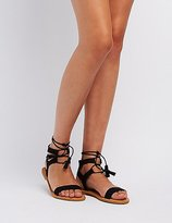 Charlotte Russe Bamboo Lace-Up Ankle Sandals