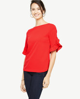 Ann Taylor Ruffle Sleeve Boatneck Top