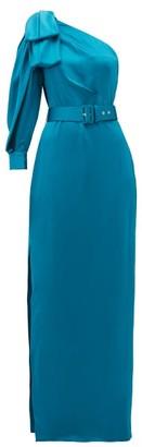 Peter Pilotto One-shoulder Belted Satin Dress - Womens - Blue