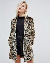 Pepe Jeans Sessile Leopard Faux Fur Coat