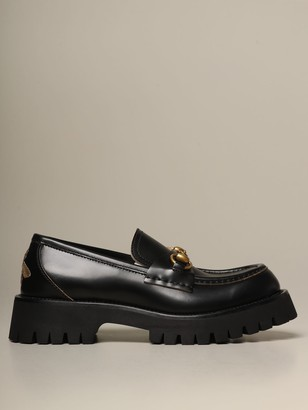 Gucci Harald Moccasins In Brushed Leather With Rubber Sole