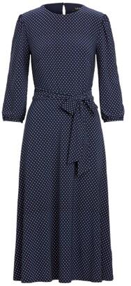 Ralph Lauren Polka-Dot Blouson-Sleeve Dress