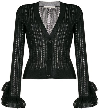 Marco De Vincenzo sheer ruffled-cuffs cardigan