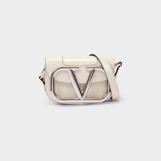 Valentino Little Shoulder Bag Supervee In White Patent Leather