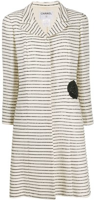 Chanel Pre Owned Sequin-Striped Slim-Fit Coat