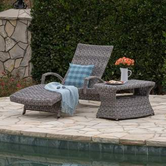 Christopher Knight Home Crete Wicker Armed Chaise Lounge with Rectangular Side Table 2pc Set - Gray